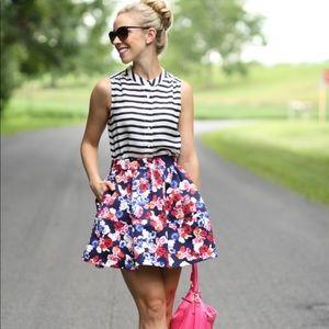 Express Floral Multi Color Skirt w/ Pockets